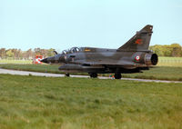 372 @ EGQS - French Air Force Mirage 2000N of EC 02.004 taxying to Runway 05 at RAF Lossiemouth in the Summer of 1997. - by Peter Nicholson