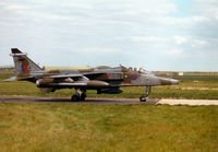 XZ396 @ EGQS - Jaguar GR.1A, callsign Blackcat 1, of 6 Squadron at RAF Coltishall taxying to Runway 05 at RAF Lossiemouth in the Summer of 1997. - by Peter Nicholson