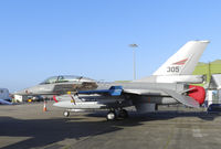 305 @ EGQL - A Bodo based 132 Wing F-16B in the static display at Leuchars airshow 2012 - by Mike stanners