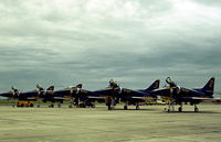 154176 @ HRL - Blue Angel number 3 with companions on the flight-line at the 1978 Confederate Air Show at Harlingen. - by Peter Nicholson