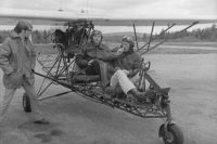 N1NH @ 8B1 - passenger Paul Mathewson at Hawthorne Feather airport in West Deering, NH fall 1972, McLaughlin pilot in command, - by photograper unknown