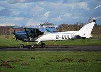 G-BOLV @ EGTF - Cessna 152 at Fairoaks. Ex N24983 - by moxy