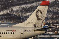 LN-KKL @ ENTC - Image of Norwegian explorer , Roald Amudsen on the tail of 1997 Boeing 737-36N, c/n: 28671