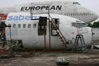 OO-SDK @ EGHH - Nose of former SABENA 737 after scrapping. - by Howard J Curtis