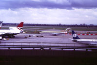 5A-DIH @ EGLL - Libyan Arab Airlines. Taken from the Queen's Building circa 1983. - by Howard J Curtis