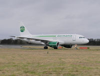 D-ASTY @ EGPH - Germania 2828 on taxiway bravo 1 - by Mike stanners