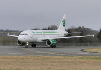 D-ASTY @ EGPH - Germania A319 Turns off runway 24 at bravo 1 on a six nations rugby charter flight - by Mike stanners