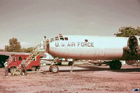 44-61975 @ BDL - Mario Tamiso, working on  '461975' B-29A . Superfortress, transported to Bradley from Aberdeen MD. (scan from off-color Kodak 5247 slide) - by John Hevesi