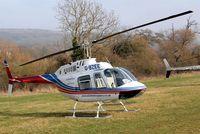 G-BZEE @ EGBC - Agusta-Bell AB.206B Jet Ranger II [8554] (Elite Helicopters) Cheltenham Racecourse~G 14/03/2012. Full shot including rotor blades.