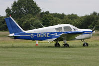 G-DENE @ EGTC - Piper PA-28-140 Cherokee, Cranfield Airport, June 2013. - by Malcolm Clarke