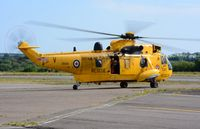 ZH541 @ EGFH - Visiting Sea King coded V of 22 Squadron RAF departing after taking on fuel. - by Roger Winser