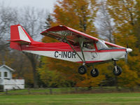 C-INOR @ CPB9 - The two pilots in this cool little homebuilt were swooping in over grass runway 01 for a landing. This Savannah is based here at Baldwin Airport near Lake Simcoe's south side. - by Chris Coates