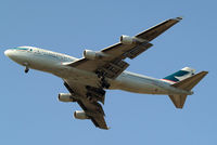 B-HKF @ EGLL - Boeing 747-412 [25128] (Cathay Pacific Airways) Home~G 24/07/2012. On approach 27L. - by Ray Barber