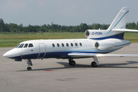 C-FCRH @ CYLS - This Falcon 50 looked great in blue colours while resting on the terminal ramp at Lake Simcoe Regional. It was visiting from Calgary, Alberta. Its reg was once on a Hawker 800 bizjet. - by Chris Coates
