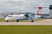 OE-LGC @ EGCC - Austrian DHC8 operating on behalf of Brussels Airlines - by FerryPNL