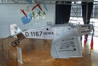 D-1167 - Junkers W 33b BREMEN, the first plane to cross the North Atlanic ocean from east to west in 1928 (on long term loan from the Henry Ford Museum, Dearborn MI, restored and exibited at Bremen airport, Bremen GERMANY)