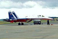 595 WHITE @ EGDY - Sukhoi Su-27P (LL)Flanker [36911037511] (Sukhoi Design Bureau) RNAS Yeovilton~G 15/07/1995