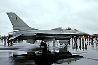 FB-07 @ EGUN - General Dynamics F-16B Fighting Falcon [6J-7(Belgian Air Force) RAF Mildenhall 23/05/1981. Taken in pouring rain image from a slide.