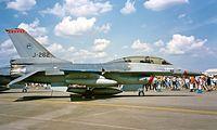 J-262 @ EGVA - General Dynamics F-16B Fighting Falcon [6E-4] (Royal Netherlands Air Force) RAF Fairford~G 19/07/1997
