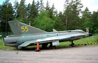 35477 @ ESCF - SAAB J-35F Draken [35477] Linkoping-Malmen~SE 31/05/2002. Now been repainted and on a pole alongside the E4 Motorway junction 114 with code of 35. - by Ray Barber