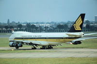 9V-SQE @ LHR - Boeing 747-212B of Singapore Airlines taxying to the active runway at Heathrow in the Summer of 1978. - by Peter Nicholson