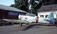 F-AZAS @ LFFQ - F-AZAS   North American T-6G Texan [182-736] La Ferte Alais~F 17/07/1982. Preserved taken from a slide.