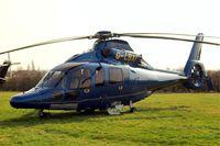 G-LBAI @ EGBC - Eurocopter EC.155B1 Dauphin [6652] Cheltenham Race Course~G 17/03/2011. Closer view and step down.