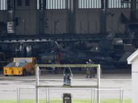 2 @ EGQL - 17F Super Etendard being pushed back into the hanger after the flying programme for the day was cancelled due to cross winds - by Mike stanners