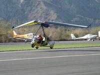 N815AH @ SZP - 2006 Air Creation TANARG, Rotax 912ULS 80 Hp tri-blade pusher prop, Weight-shift control Experimental class LSA, landing Rwy 04 - by Doug Robertson