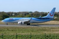 OO-JAU @ LFRB - Boeing 737-8K5, Landing Rwy 7R, Brest-Bretagne Airport (LFRB-BES) - by Yves-Q