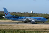 OO-JAU @ LFRB - Boeing 737-8K5, Taxiing to boarding area, Brest-Bretagne Airport (LFRB-BES) - by Yves-Q