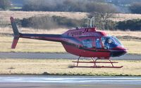 G-TGRZ @ EGFH - Visiting Jet Ranger III operated by Tiger Helicopters. - by Roger Winser