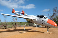 A79-651 @ N.A. - Vampire T35 along the main road through the town of Beverley, Western Australia. It is in fact a composite, made from various airframes and has been crudely assembled and finished. - by Henk van Capelle