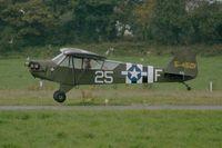 F-BETK @ LFRB - Piper J3C-65 Cub, Landing Rwy 25L, Brest-Bretagne Airport (LFRB-BES) - by Yves-Q