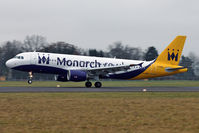 G-OZBY @ LOWL - Monarch Airlines Airbus A320-214 landing in LOWL/LNZ