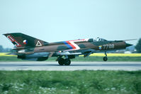7709 @ LKPO - 9.sbolp a/c in a striking color scheme at Prerov - by Fred Willemsen