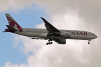 A7-BBB @ EGLL - Boeing 777-2DZLR [36013] (Qatar Airways) Home~G 15/07/2012. On approach 27L. - by Ray Barber