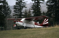 C-GOOJ @ CAV3 - Tied down on the grass at 100 Mile House, BC, in April, with a light snow falling. - by Murray Lundberg