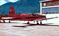A-911 @ LSZL - Pilatus PC-7 [319] (Swiss Air Force) Locarno~HB 27/09/1984. Taken from a slide. - by Ray Barber