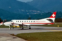 HB-LLE @ LSZL - Swearingen SA.227AC Metro III [AC-429] (Crossair) Locarno~HB 27/09/1984. Taken from a slide. - by Ray Barber