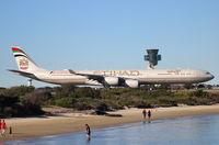 A6-EHE @ YSSY - Etihad Airways. A340-642X. A6-EHE cn 829. Sydney - Kingsford Smith International (Mascot) (SYD YSSY). Image © Brian McBride. 11 August 2013 - by Brian McBride