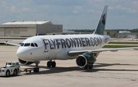 N954FR @ DTW - Mickey the Moose Frontier A319
