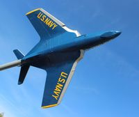 144365 - F9F-8 Cougar in Blue Angels colors at the Florida Welcome Center on I-10 near Pensacola - by Florida Metal