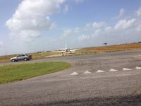 N379VM - While driving to Laredo on TX-44 near Robstown, TX, N379VM lined up on a dirt runway for takeoff. - by Ellexis
