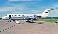 SE-DGF @ ESOK - Fokker F-28-4000 Fellowship [11115] (Linjeflyg) Karlstad~SE 19/06/1985. From a slide.