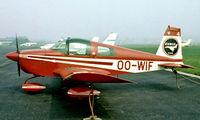 OO-WIF @ EBAW - American Aviation AA-1B Trainer 2 [AA1B-0264] Antwerp-Deurne~OO 14/08/1977. From a slide.