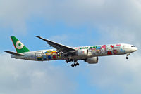 B-16703 @ EGLL - Boeing 777-35EER [32643] (EVA Airways) Home~G 15/07/2014. On approach 27L. Wears Hello Kitty scheme. - by Ray Barber