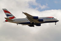 G-XLEF @ EGLL - Airbus A380-841 [151] (British Airways) Home~G 05/06/2014 On approach 27L.