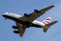 G-XLEF @ EGLL - Airbus A380-841 [151] (British Airways) Home~G 02/07/2014. On approach 27R.