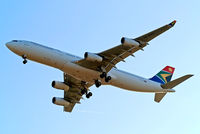 ZS-SXF @ EGLL - Airbus A340-313E [651] (South African Airways) Home~G 17/07/2014. On approach 27R.